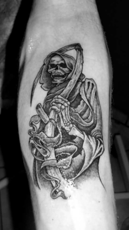 Black And White Ink Lower Sleeve Grim Reaper Tattoo