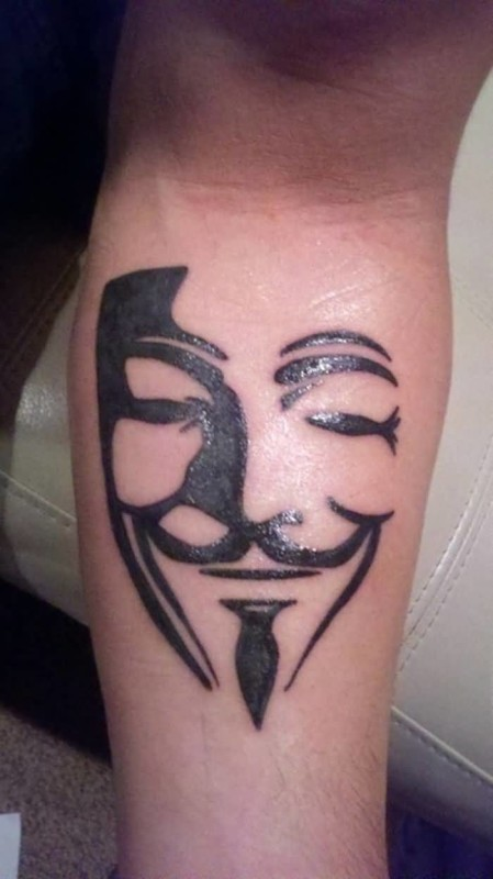 Black Ink Coolest 3D Mask Tattoo Design Image Made By Perfect Artist