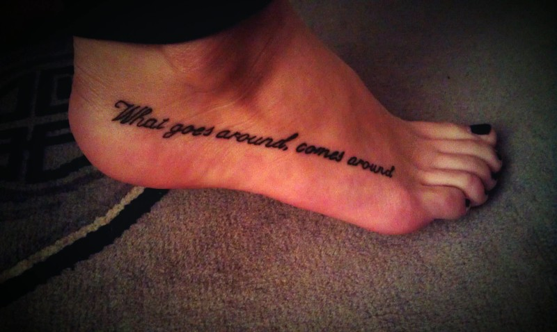 Black Ink Coolest Text Tattoo Design For Foot