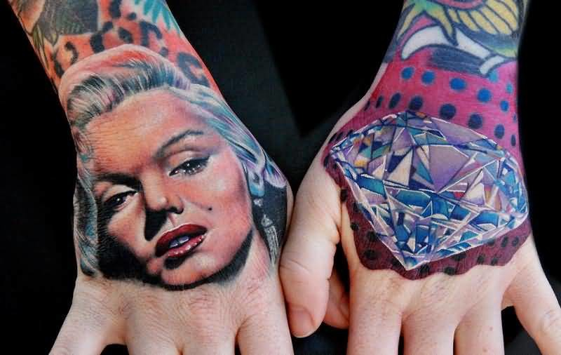 Both Hand Decorated With Brilliant Girl Face With Kohinoor Tattoo