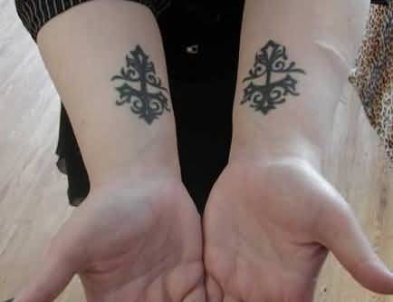 Both Lower Sleeve Decorated With Outstanding Classy Gothic Tattoo