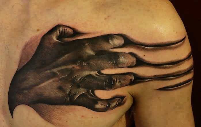 Brilliant 3D Angry Hand Tattoo Design Image  Make On Chest