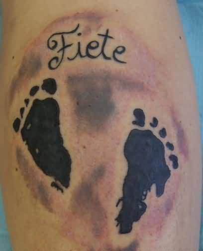 Brilliant Black Ink Nice Name Footprint Tattoo