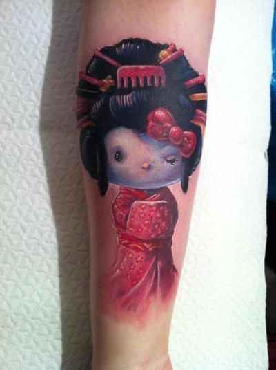 Brilliant Geisha Girl Tattoo Design