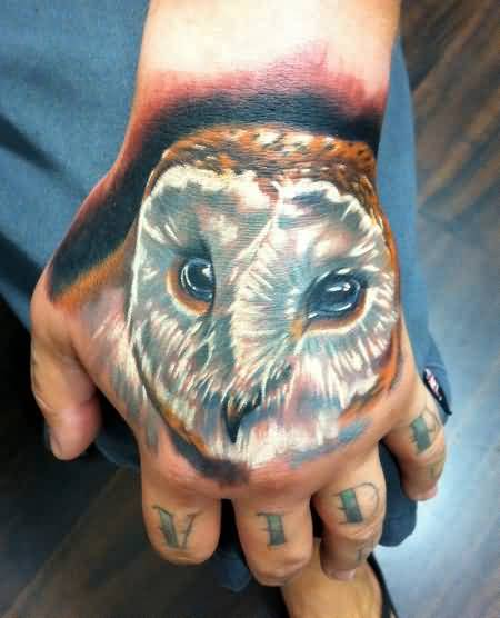 Brilliant Hand Cover Up With Awesome 3D Sweet Baby Owl Face Tattoo