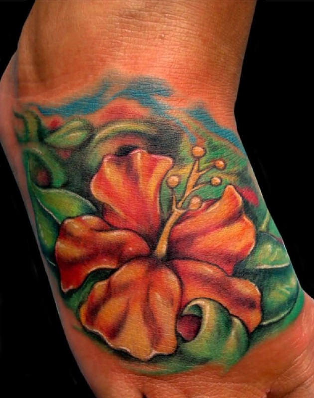 Brilliant Hawaiian Flower Tattoo Design Made By Perfect Artist