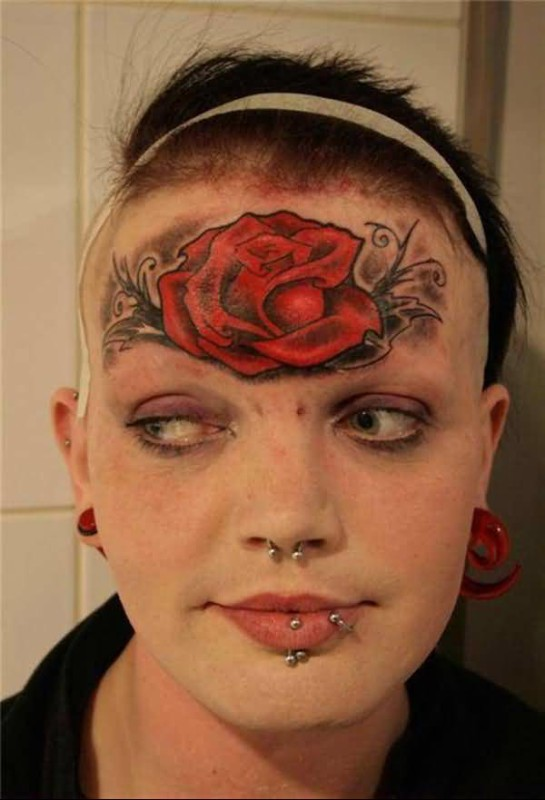Brilliant Red Forehead Nice Rose Tattoo
