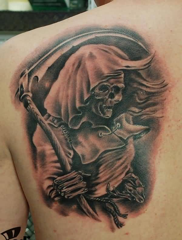 Brilliant Upper Side Back Decorated With Outstanding Grim Reaper Tattoo