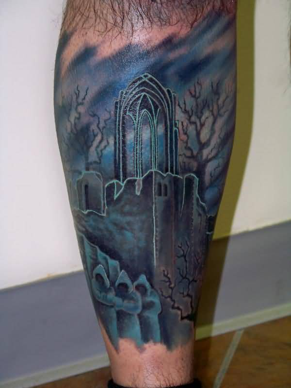 Classy Blue Ink Graveyard Tattoo Design Image Made By Ink