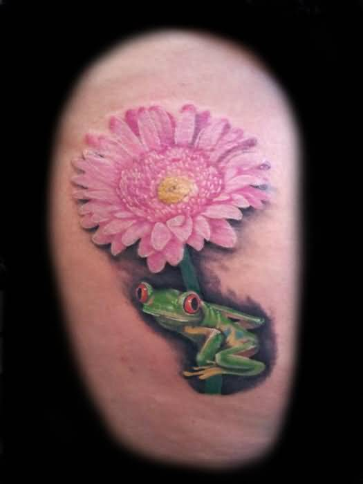 Classy Pink Flower  Frog Tattoo Design Made By Perfect Artist
