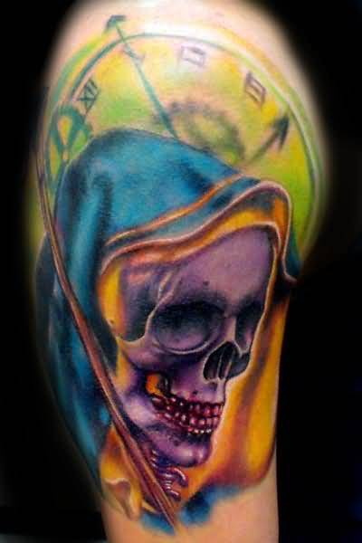 Colorful Ink Brilliant Clock With Nice One Upper Sleeve Grim Reaper Tattoo