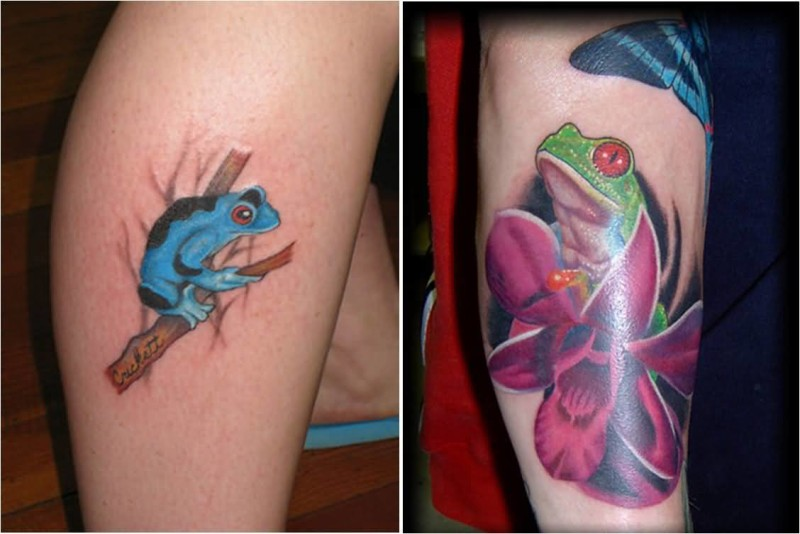 Colorful Nice Simple And Coolest Frog Tattoo