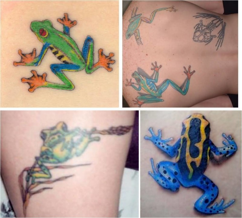 Colorful Simple Frog Tattoo Image