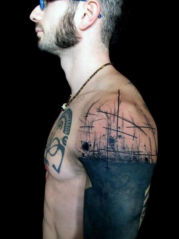Cool Handsome Men Show Fabulous Funky Tattoo Design Image On Upper Sleeve
