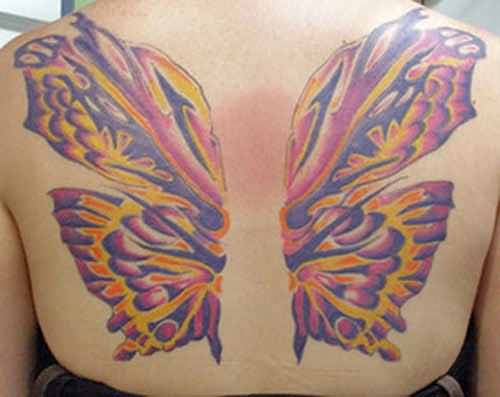 Coolest Butterfly Funky Wings Tattoo Image Make On Upper Back