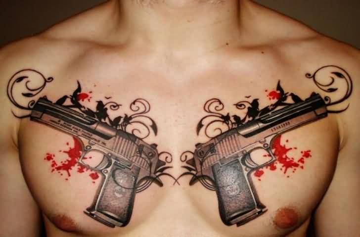 Coolest Chest Guns Tattoo Design Image For Young Men