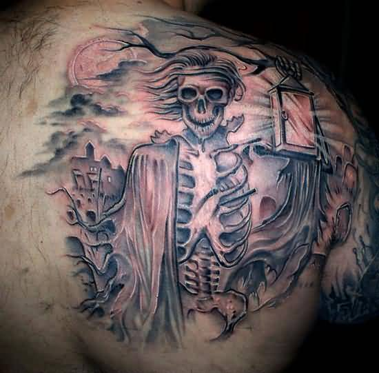Crazy Cool Grim Graveyard Tattoo Design Image Make On Upper Side Back