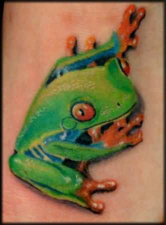 Extreme Good Angry 3D Frog Tattoo