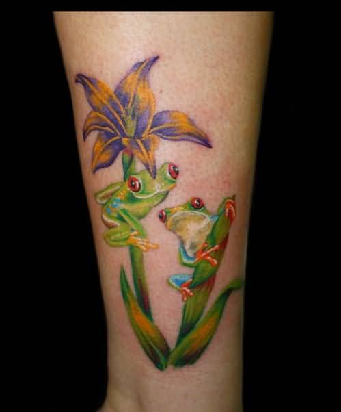 Fabulous Frogs And Nice Flower Tattoo Design Image