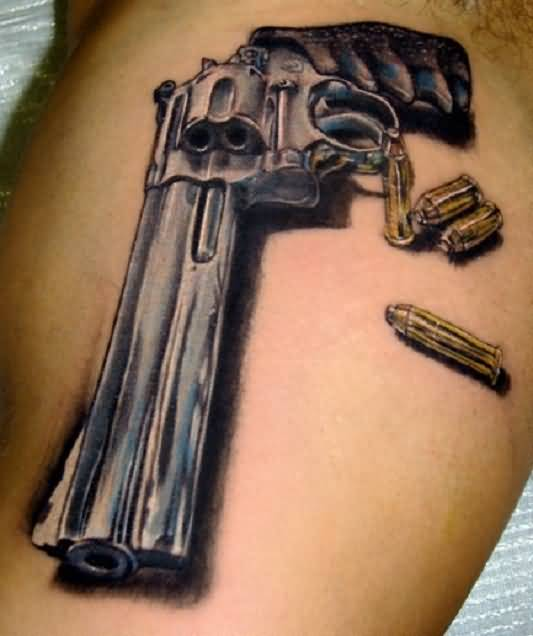 Famous 3D Gun With Bullets Tattoo Design
