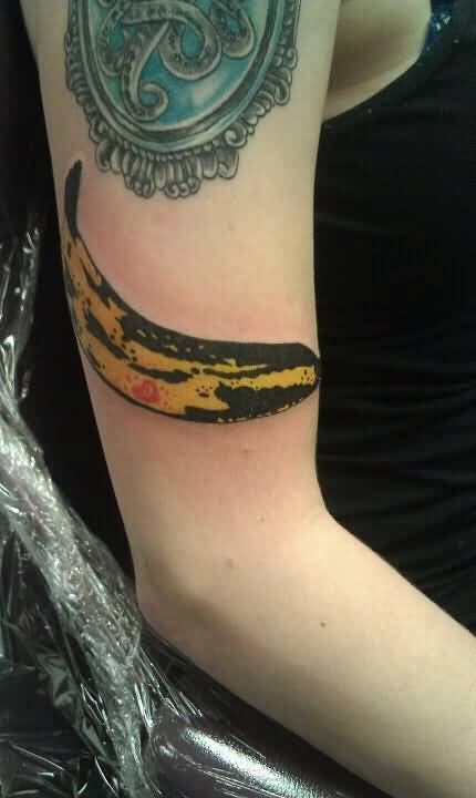 Famous Banana Fruit Tattoo Image Make On Upper Sleeve