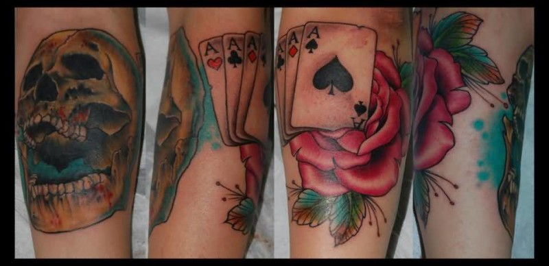 Fantastic Angry Skull Gambling Cards Rose Tattoo Design Image