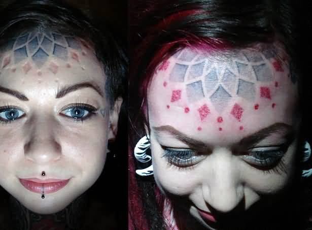 Fantastic Forehead Tattoo Design Image For Young Women