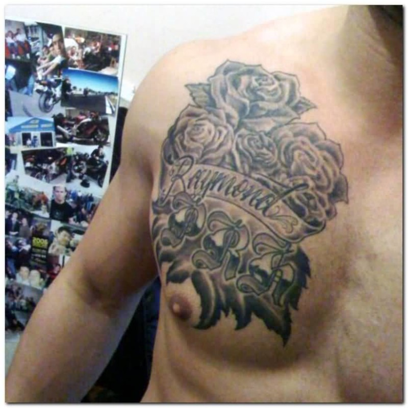 Fantastic Text Gothic Tattoo Design Image Make On Men's Chest