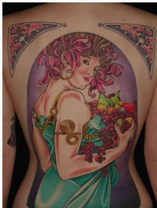 Full Back Cover Up With Young Girl And Nice Grapes Tattoo Design Image