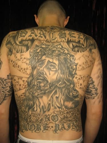 Full Back Decorated With Religious Jesus With Banner And Cool Fire n Flame Tattoo For Cool Men