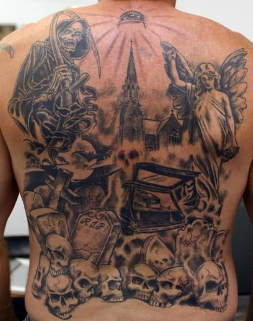 Full Back Decorated With Simple Grim Graveyard Design With Angel Tattoo Image