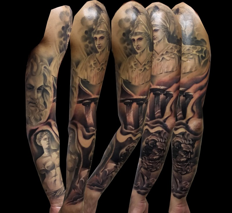 Full Sleeve Decorated With Brilliant Greek God Faces Tattoo
