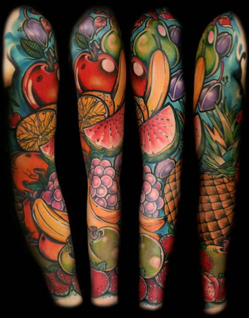 Full Sleeve Decorated With Latest New Fruits Tattoo Picture