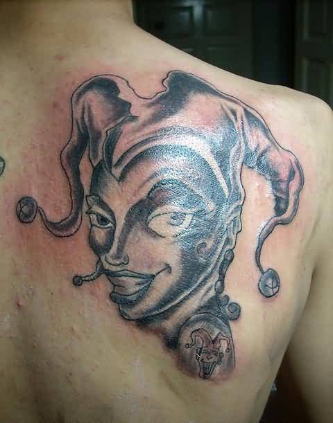 Funky Clown Girl Tattoo Design Image Make On Upper Side Back
