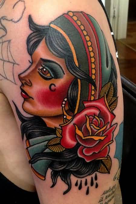 bba4b9e8a8c7b Glowing Upper Sleeve Gypsy Girl Face Tattoo Design With Lovely Red Rose