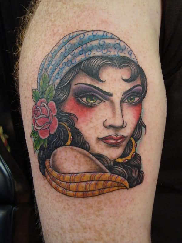 Great Looking Angry Gypsy Tattoo Design Image Make On Upper Sleeve