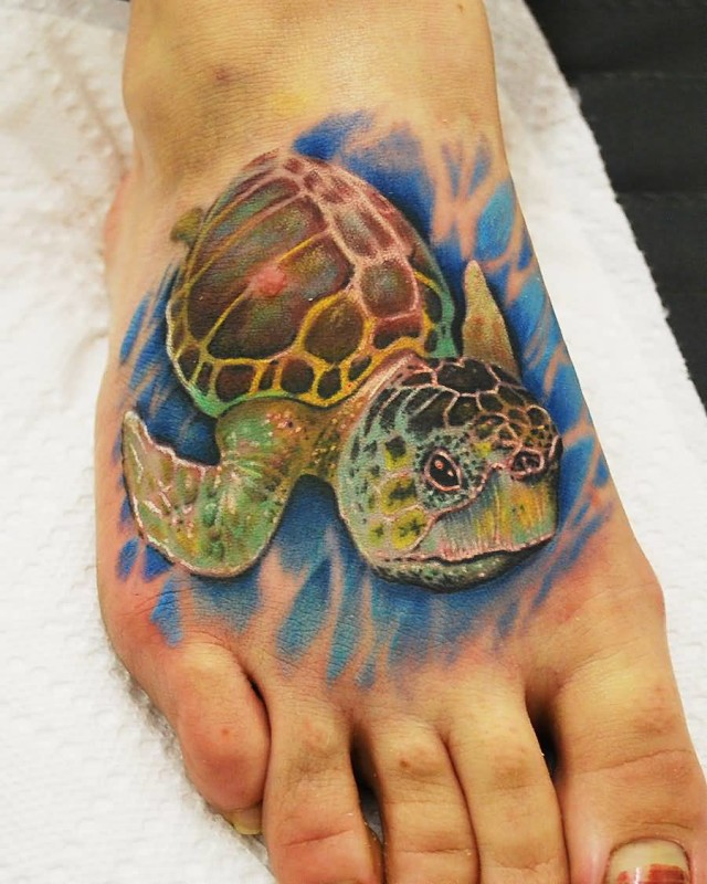 Incredible Foot Turtle Tattoo Design Image