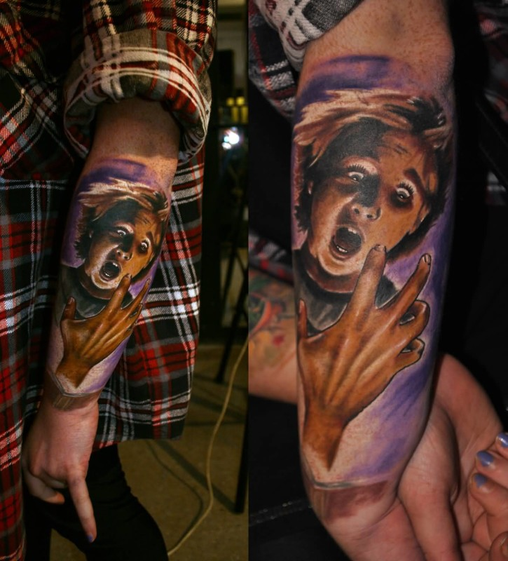 Incredible Lower Sleeve Decorated With Girl Tattoo Made By Perfect Artist