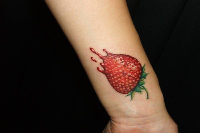 Innovative Lower Sleeve Yummy Strawberry Fruit Tattoo