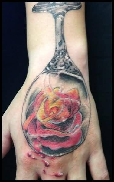 Lovely Flower In Nice One Glass Tattoo Design Image Make On Hand