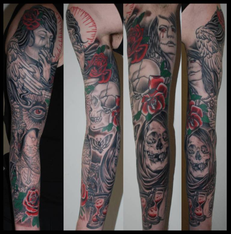 Lovely Flowers With Gothic Girl Face Tattoo On Full Sleeve For Men