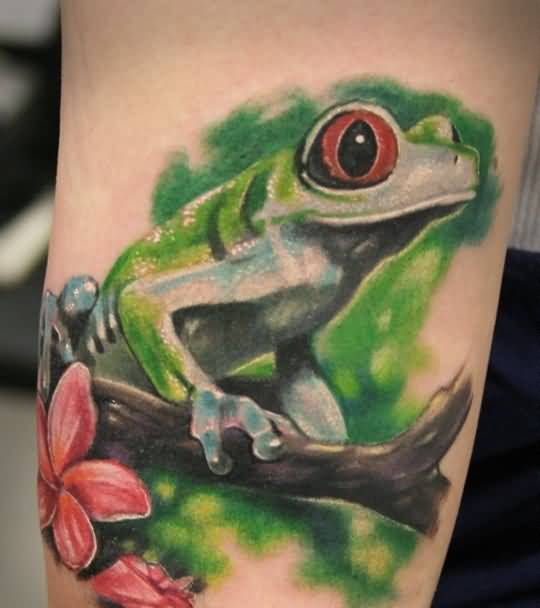Lovely New Flower And Brilliant Frog On Tree Tattoo