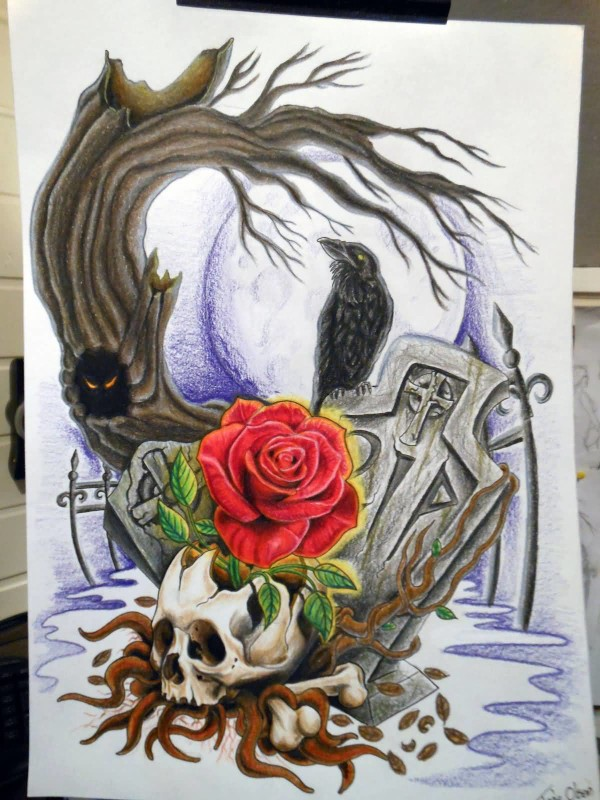Lovely Red Rose With Skull Graveyard Tattoo Design Image Make On Paper
