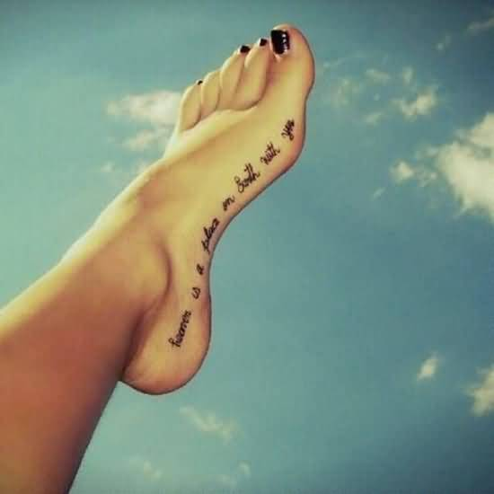 Lovely Side Foot Text Tattoo Design For Hot Girl