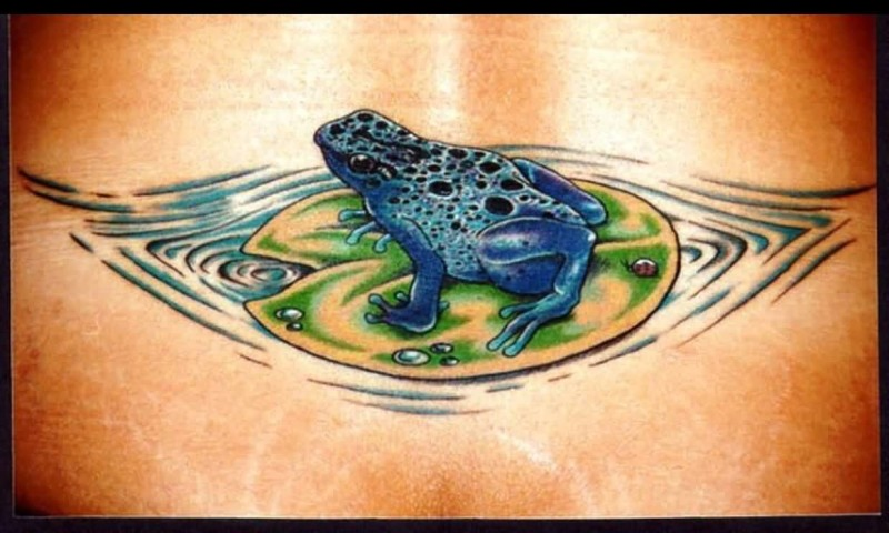 Lower Back Cover Up With Outstanding Blue Color Frog Tattoo