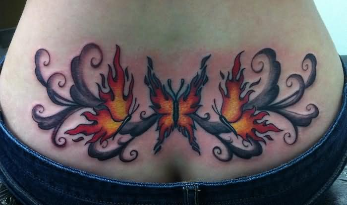 Lower Back Cover Up With Outstanding Clssy Butterfly Fire n Flame Tattoo