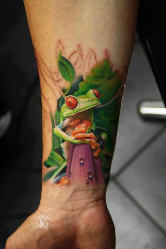 Lower Sleeve Decorated With Awesome 3D Frog Tattoo