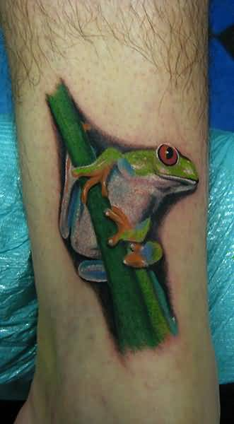 Marvelous Coolest Frog Hold Tree Tattoo Image Made By Artist