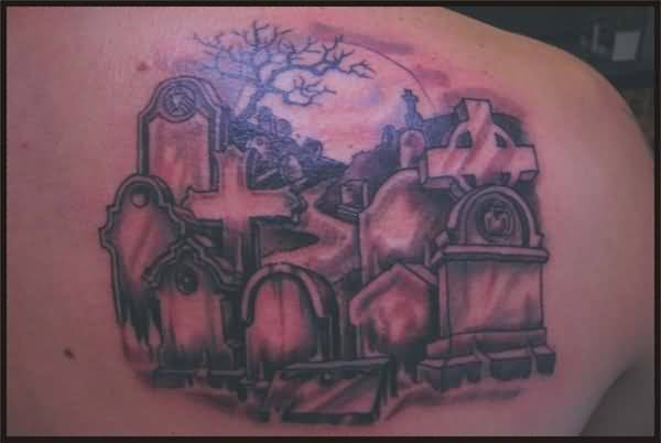 Marvelous Cross Graveyard Tattoo Design Image Make On Upper Back For Men