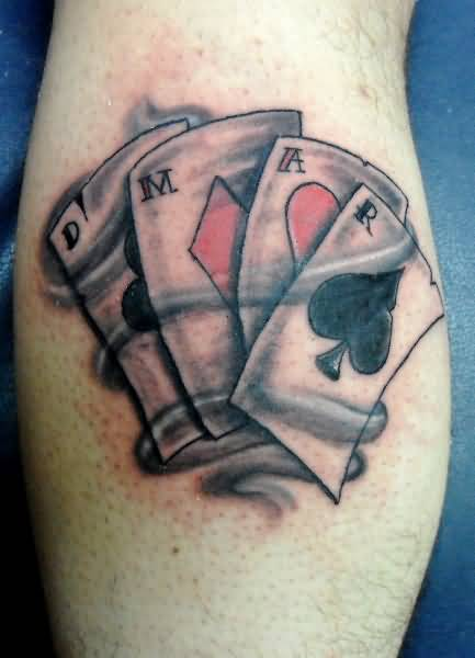 Marvelous Latest Gambling Cards Tattoo Picture